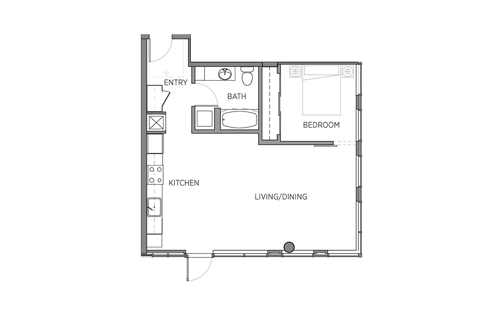 1.5B - 1 bedroom floorplan layout with 1 bath and 733 square feet.