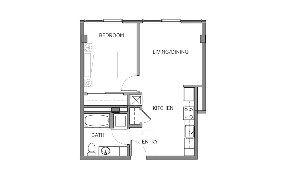 1B - 1 bedroom floorplan layout with 1 bath and 618 square feet.