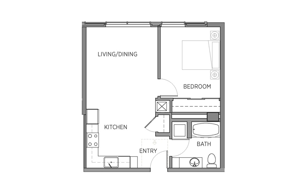1B.1 - 1 bedroom floorplan layout with 1 bath and 618 square feet.