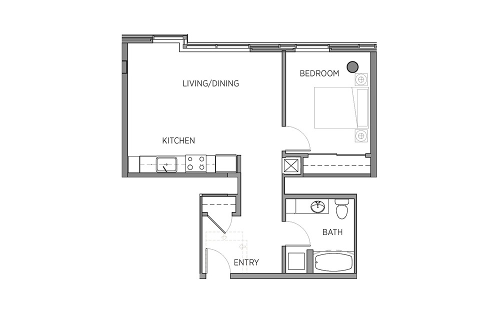 1C - 1 bedroom floorplan layout with 1 bath and 706 square feet.
