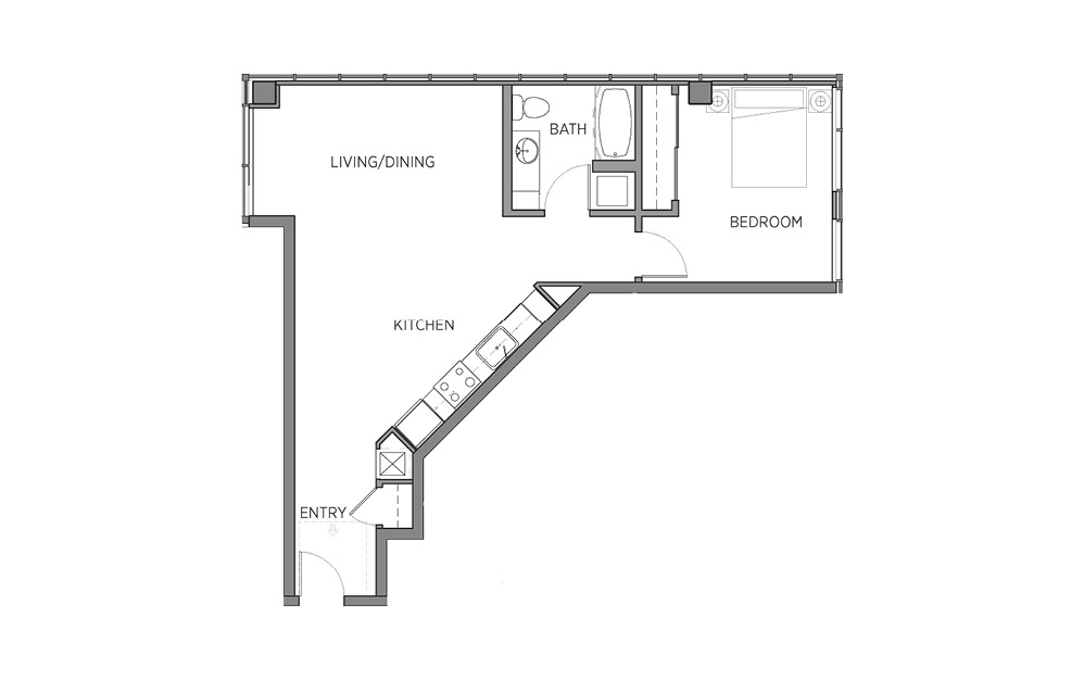 1D - 1 bedroom floorplan layout with 1 bath and 750 to 782 square feet.