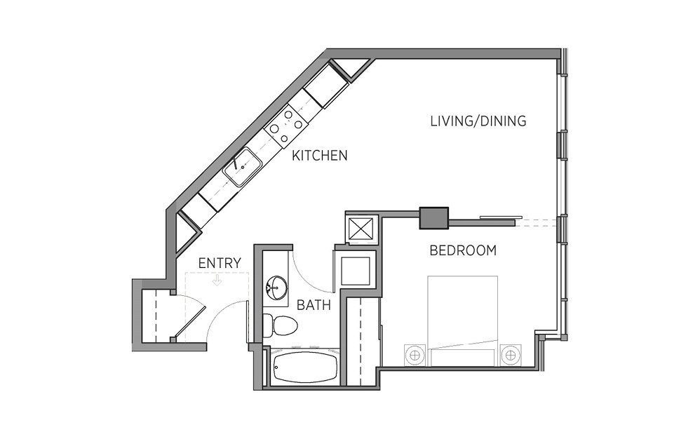 1E - 1 bedroom floorplan layout with 1 bath and 585 to 588 square feet.