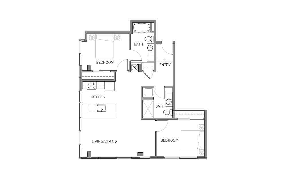 1E.1 - 2 bedroom floorplan layout with 2 baths and 1009 square feet.