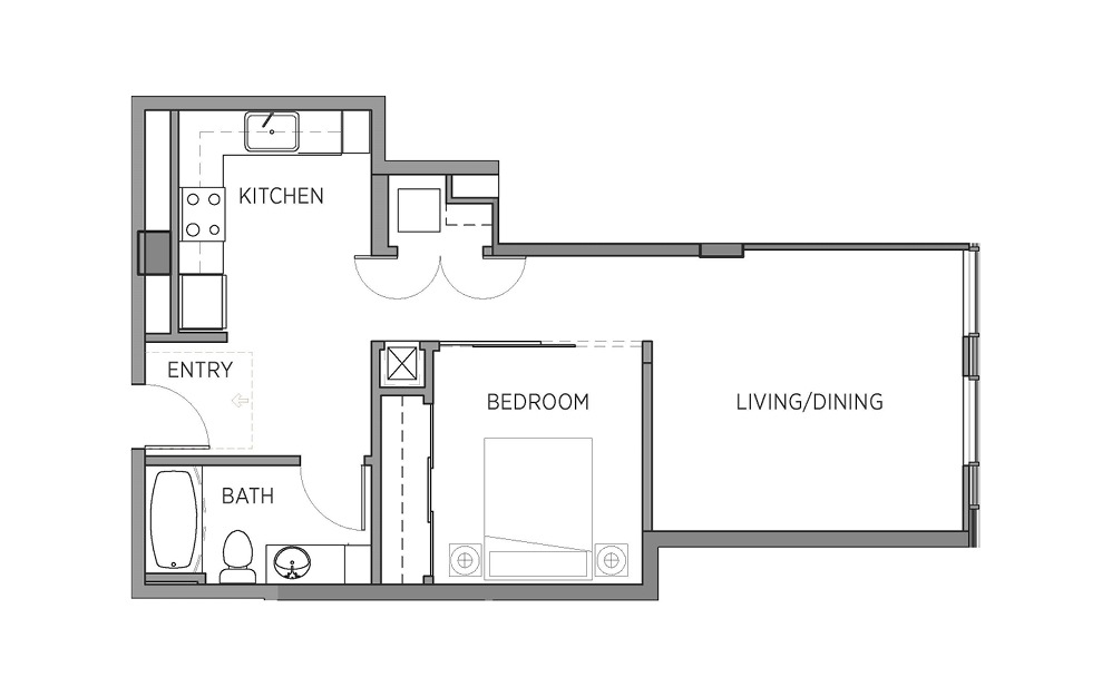 1F - 1 bedroom floorplan layout with 1 bath and 703 square feet.