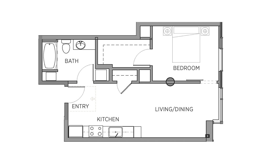 1G - 1 bedroom floorplan layout with 1 bath and 591 square feet.