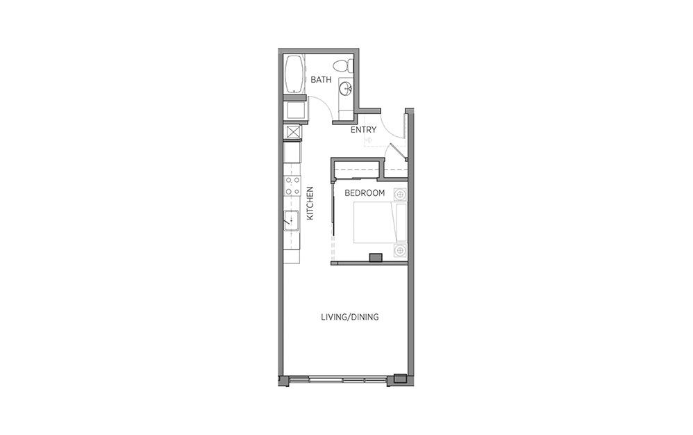 1H - 1 bedroom floorplan layout with 1 bath and 600 square feet.