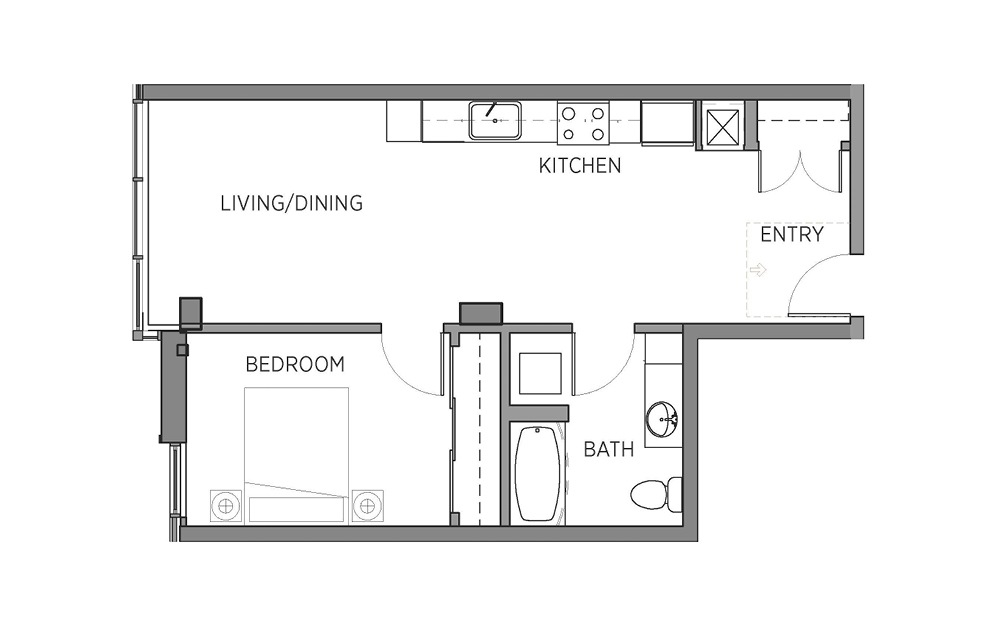 1J - 1 bedroom floorplan layout with 1 bath and 641 square feet.
