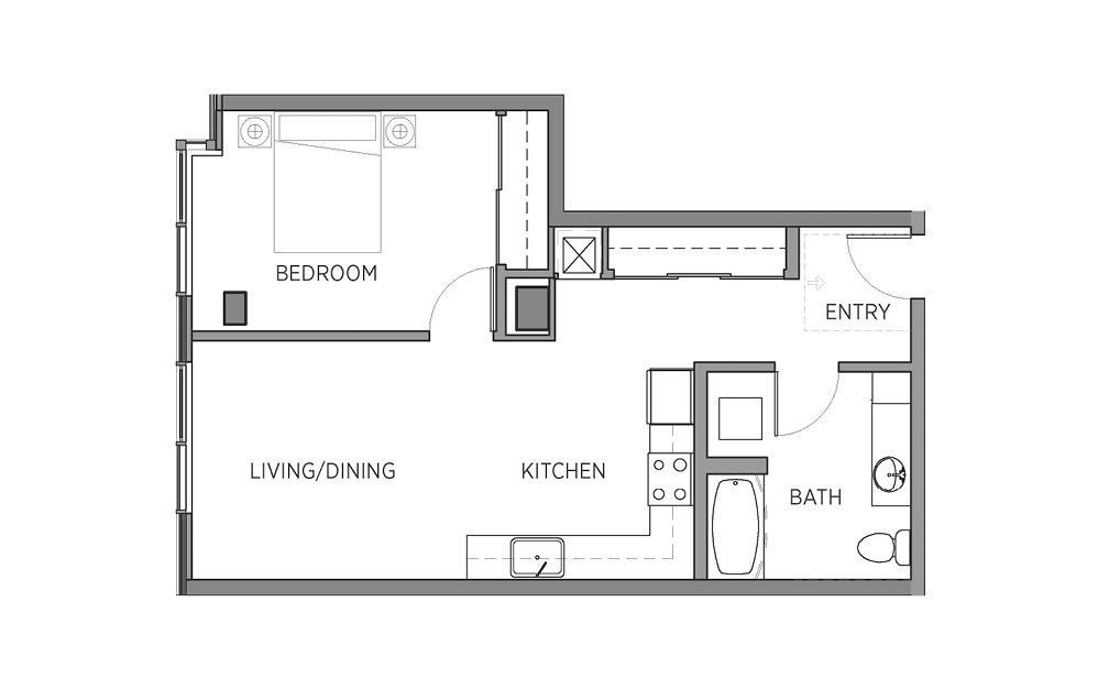 1K - 1 bedroom floorplan layout with 1 bath and 696 square feet.