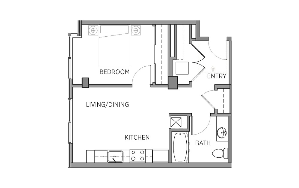 1L - 1 bedroom floorplan layout with 1 bath and 573 square feet.
