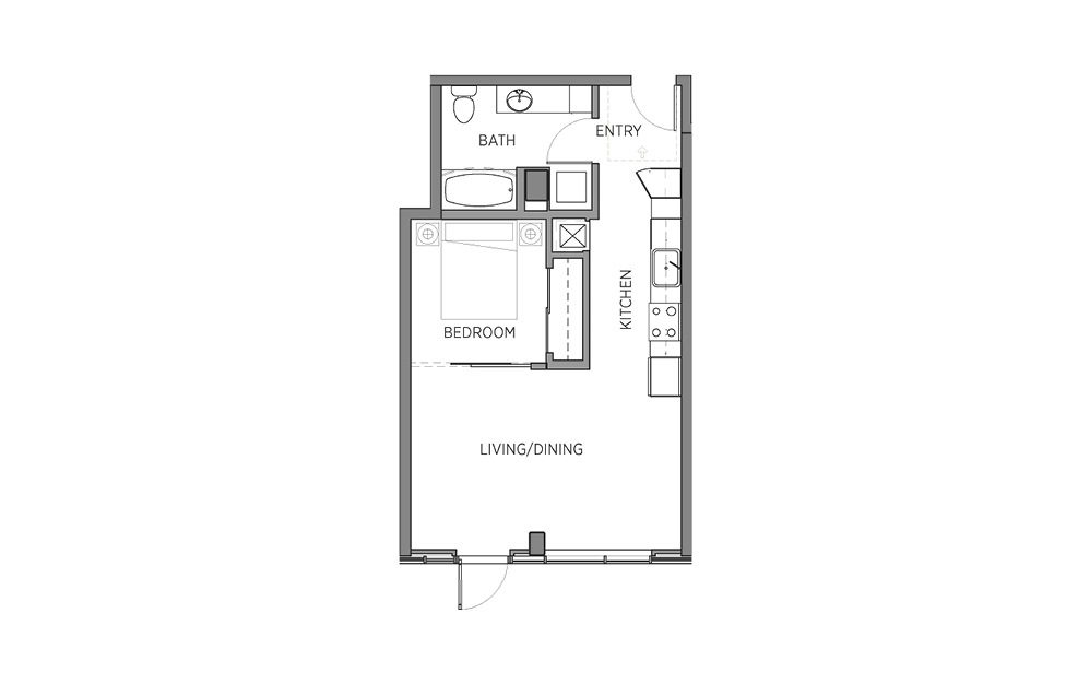1M - 1 bedroom floorplan layout with 1 bath and 581 square feet.