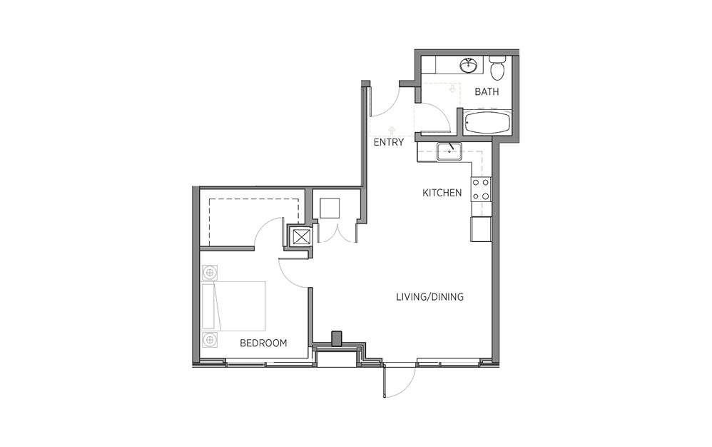 1N - 1 bedroom floorplan layout with 1 bath and 735 square feet.