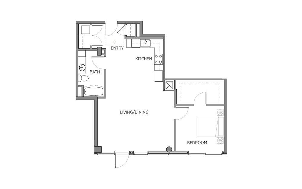 1N.1 - 1 bedroom floorplan layout with 1 bath and 870 square feet.