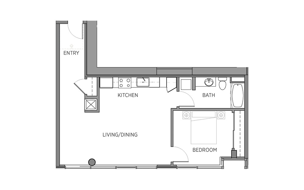 1P - 1 bedroom floorplan layout with 1 bath and 727 square feet.