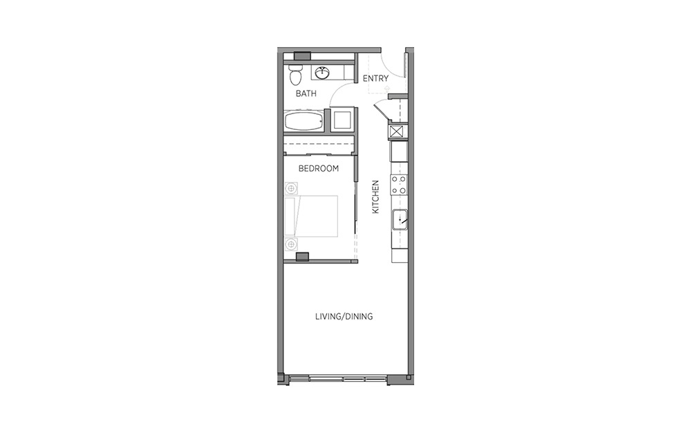 1Q - 1 bedroom floorplan layout with 1 bath and 646 to 647 square feet.