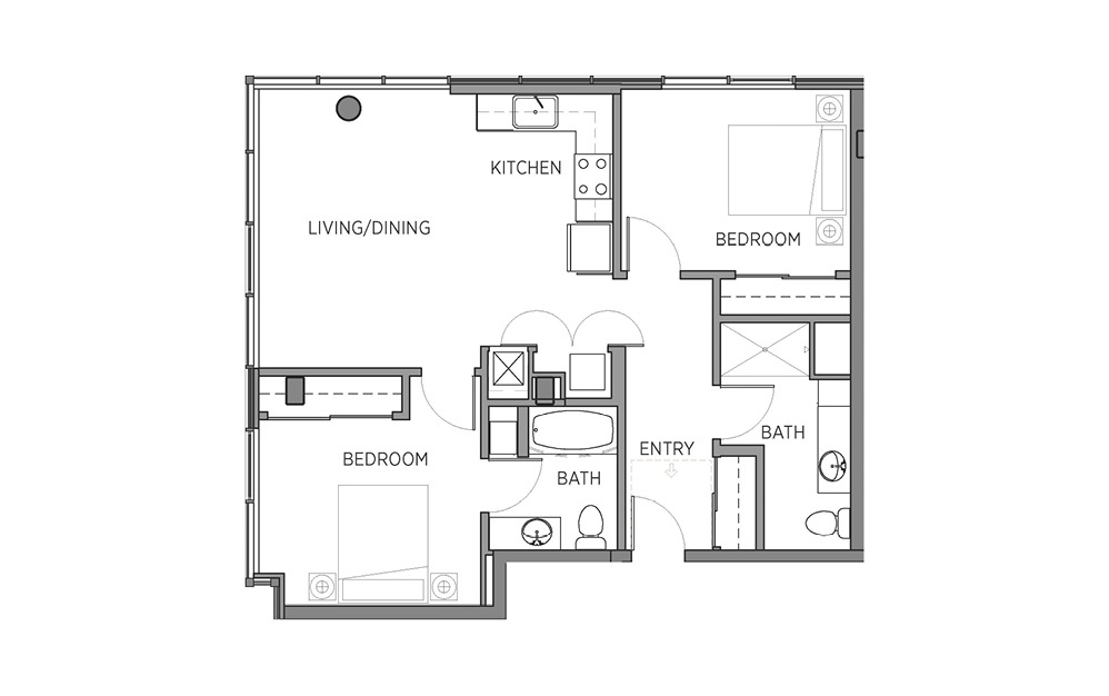 2B.1 - 2 bedroom floorplan layout with 2 baths and 943 to 1111 square feet.