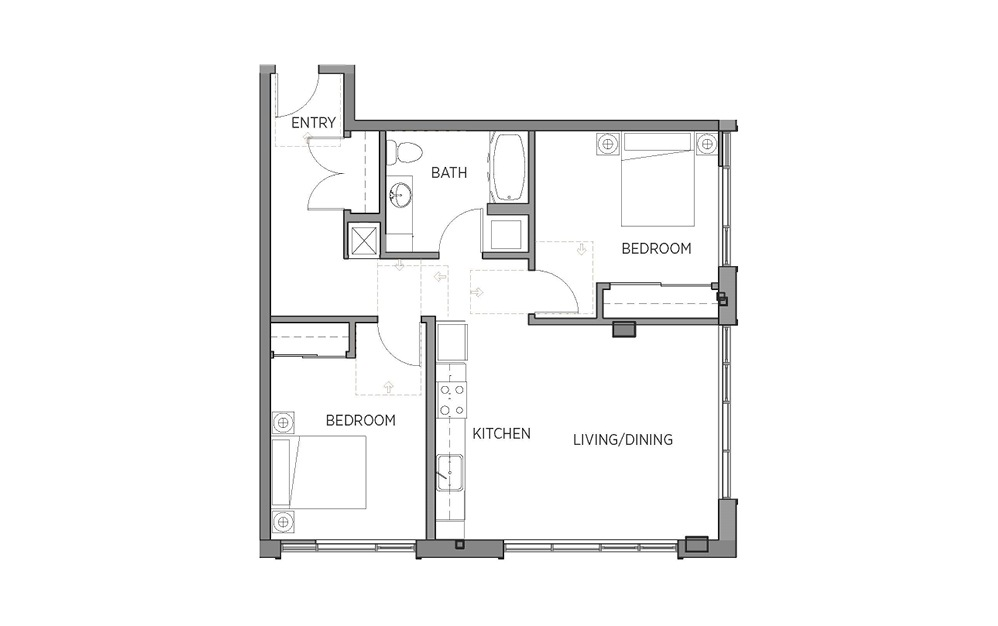 2C - 2 bedroom floorplan layout with 1 bath and 936 square feet.