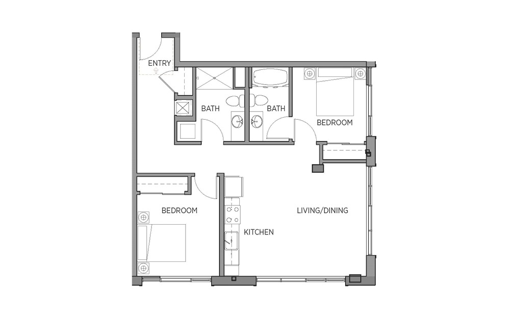 2D - 2 bedroom floorplan layout with 2 baths and 936 square feet.