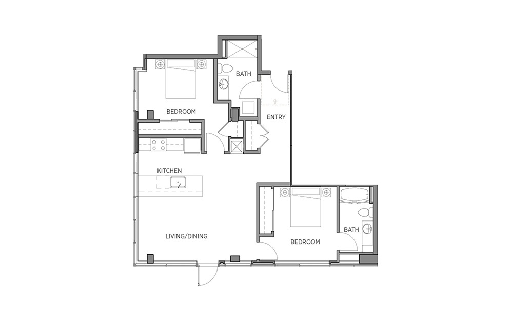 2E - 2 bedroom floorplan layout with 2 baths and 1077 to 1090 square feet.